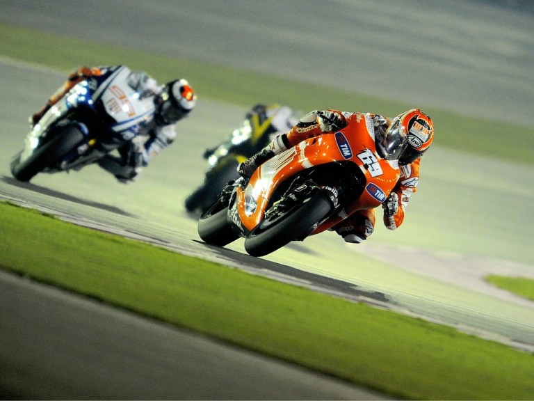 MotoGP group in action at the Qatar test