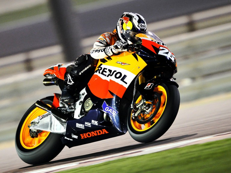 Dani Pedrosa in action at the Qatar test