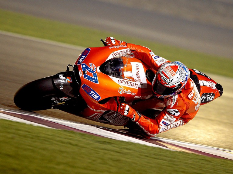 Casey Stoner in action at the Qatar test
