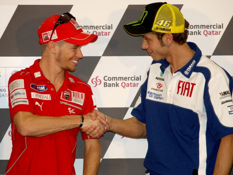 Stoner and Rossi at the Commercialbank Gran Prix of Qatar  Press Conference