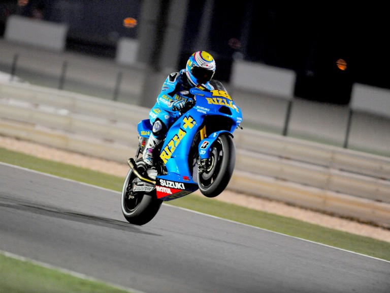 Alvaro Bautista pulls off a wheelie during FP1 in Qatar