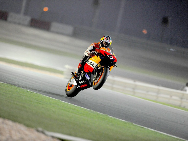 Andrea Dovizioso pulls off a wheelie during FP1 in Qatar