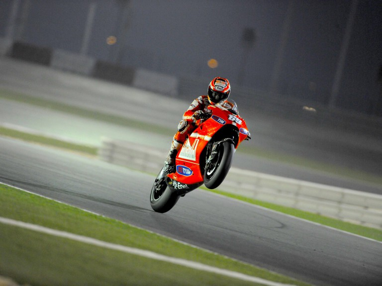 Nicky Hayden pulls off a wheelie During FP1 in Qatar