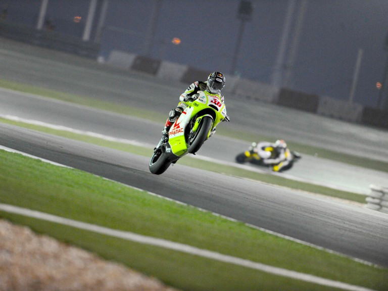 Mika Kallio pulls off a wheelie during FP1 in Qatar