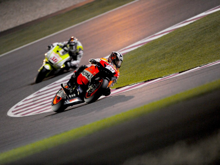 Dani Pedrosa on track in Qatar
