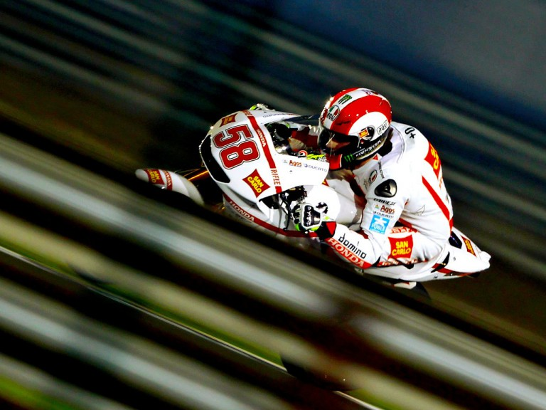 Marco Simoncelli in action in Qatar