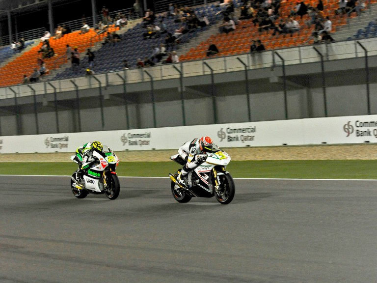 Simone Corsi and Andrea Iannone in action in Qatar
