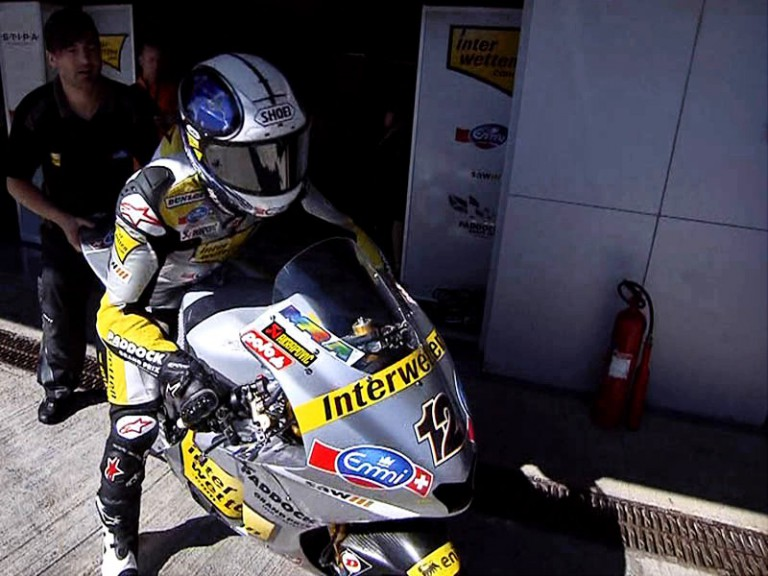 Thomas Luthi leaving box during FP2 in Jerez