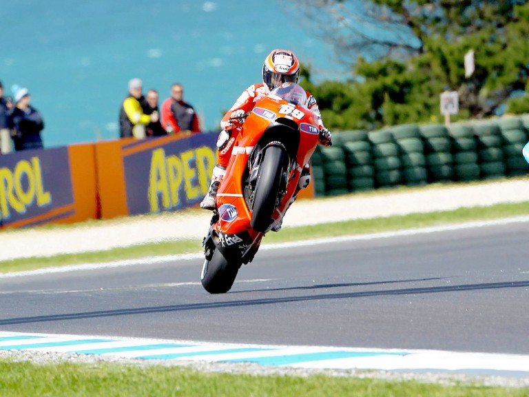 Nicky Hayden Pulls off a wheelie at Phillip Island