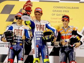 Lorenzo, Rossi and Dovizioso on the podium at the Commercialbank G.P. of Qatar