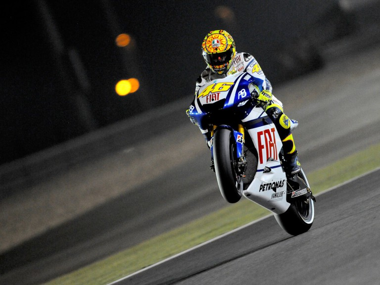 Valentino Rossi pulls off a wheelie at the Commercialbank G.P. of Qatar