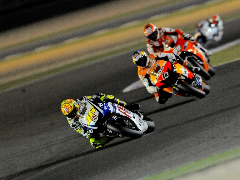 Valentino Rossi riding ahead of MotoGP group in Qatar