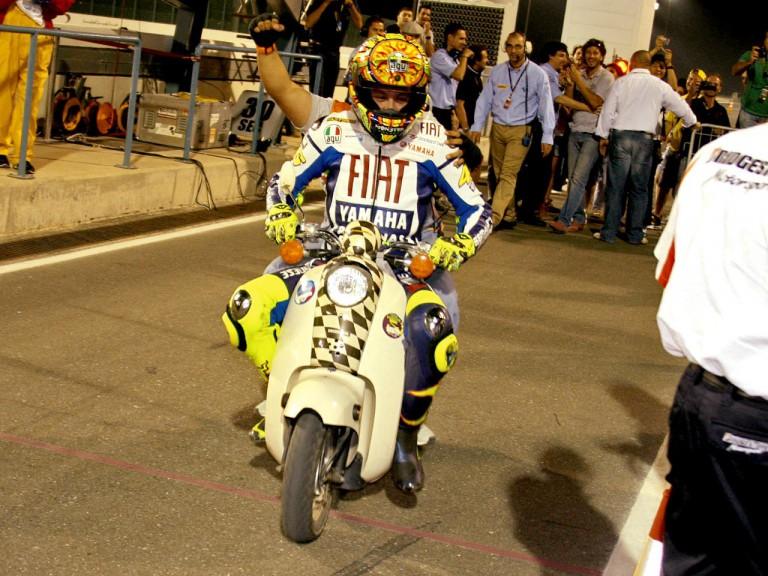 Valentino Rossi celebrates his Qatar victory