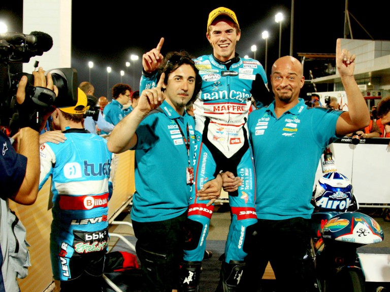 Nico Terol celebrating GP win in Qatar