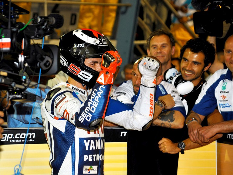 Jorge Lorenzo at the Parc Fermé after the race in Qatar