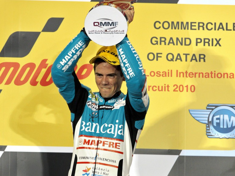 Nico Terol on the podium at the Commercial G.P. of Qatar