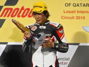 Shoya Tomizawa on the podium at Qatar