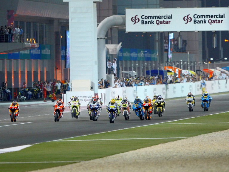 MotoGP group in action in Qatar