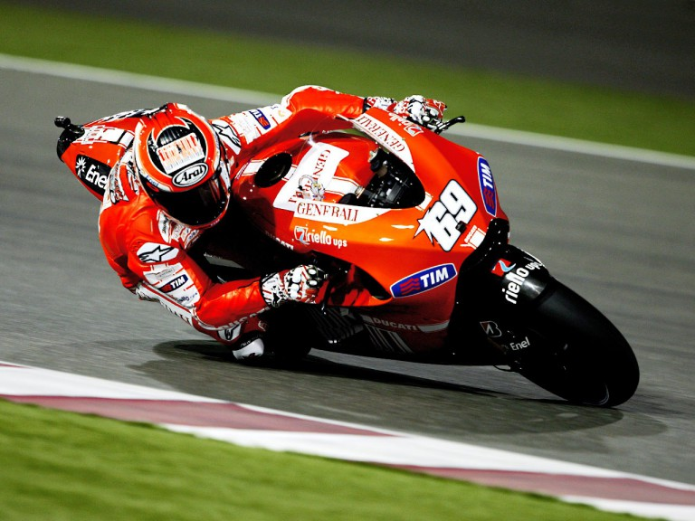 Nicky Hayden in action in Qatar