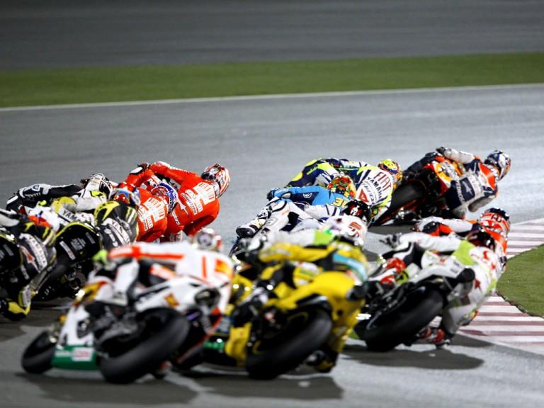 MotoGP group in action in Qatar