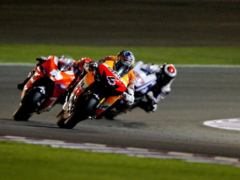 Dovizioso riding ahead of Hayden and Lorenzo