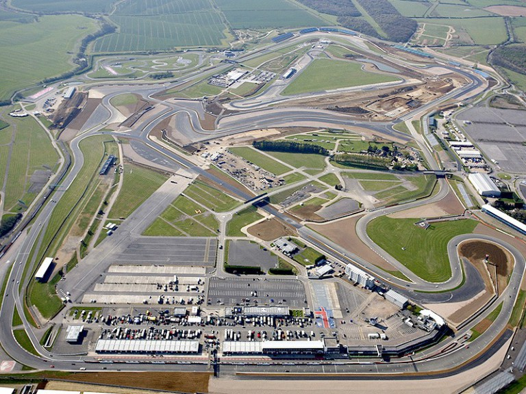 Aerial view of Silverstone circuit