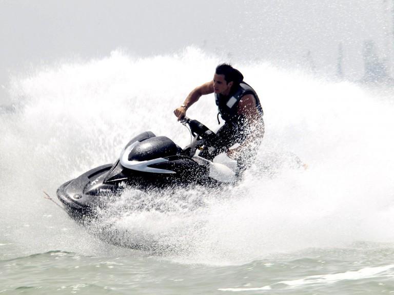 Randy de Puniet enjoys on jetskis at Puerto de Santa María
