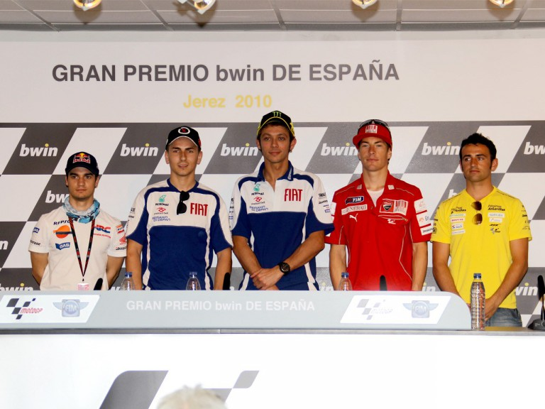 Pedrosa, Lorenzo, Rossi, Hayden and Barberá at the Gran Premio bwin de España press conference