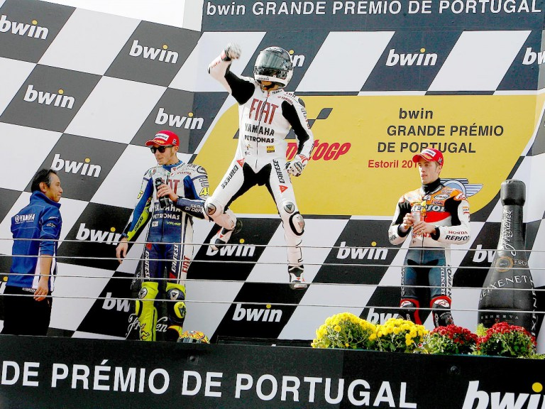 Jorge Lorenzo celebrates GP win at Estoril