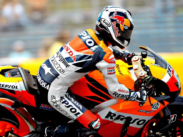 Dani Pedrosa on track at the FP1 in Jerez