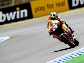 Dani Pedrosa on track at the FP1 in Jerez