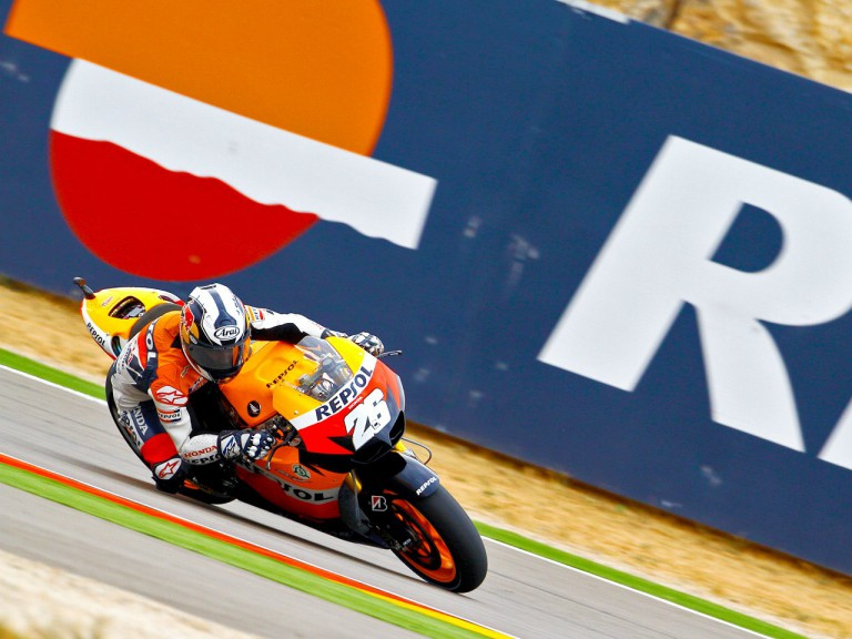 Dani Pedrosa in action at Motorland Aragón