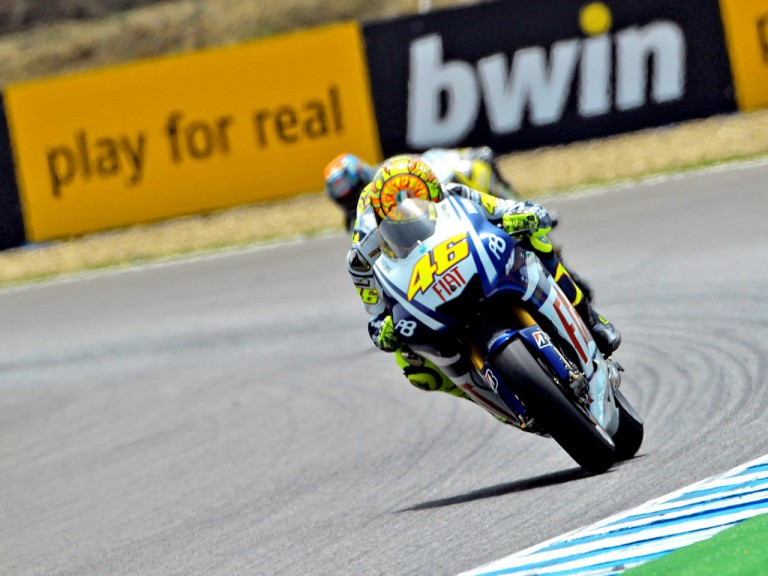 Valentino Rossi in action during FP1 in Jerez