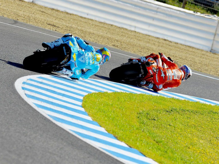 Bautista and Stoner in action in Jerez