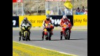 Edwards, Dovizioso and Stoner at the finish of the QP in Jerez