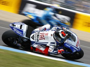 Lorenzo in action during FP2 at Jerez