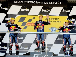 Red Bull Rookies Cup riders Hiura, Kent and Ruiz on the podium in Jerez