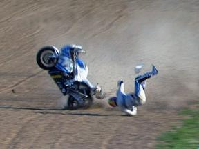 Jerez 2010 Moto2 Warm Up Action Alex de Angelis Crash