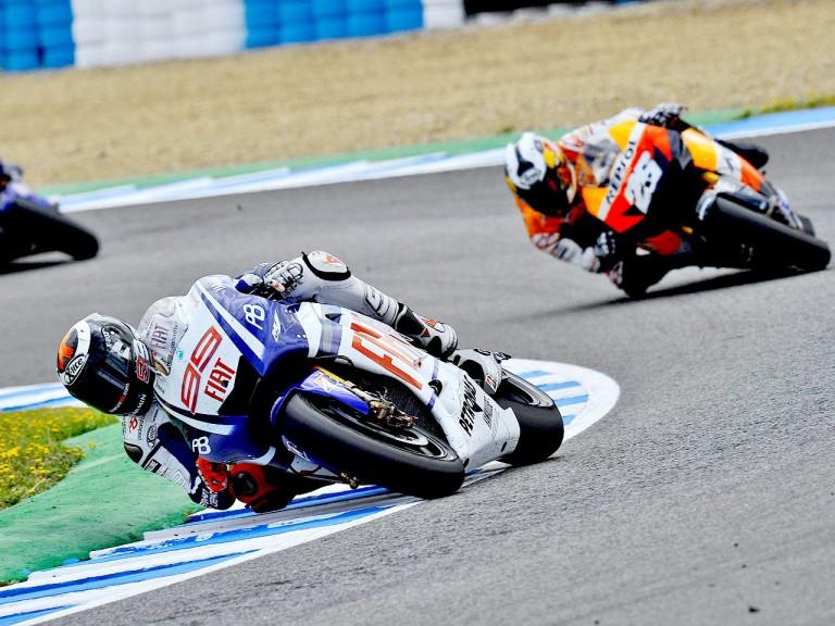 Lorenzo riding ahead of Pedrosa in Jerez