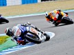 Lorenzo riding ahead of Pedrosa in Jerez