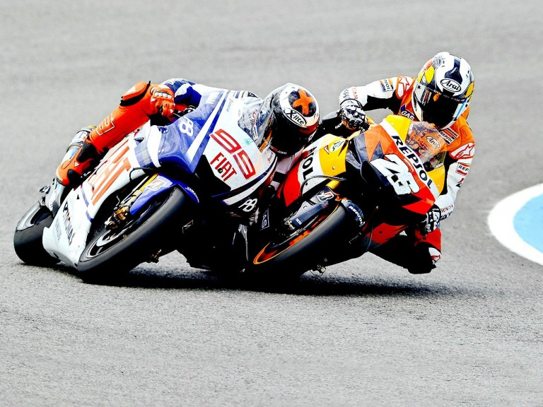 Lorenzo and Pedrosa riding head to head during the race in Jerez
