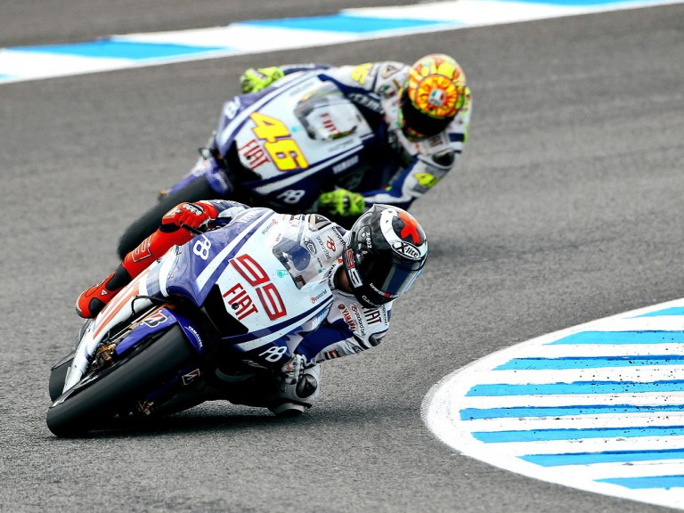Lorenzo riding ahead of Rossi in Jerez
