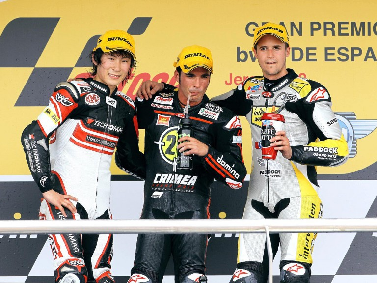 Tomizawa, Elias and Luthi on the podium in Jerez