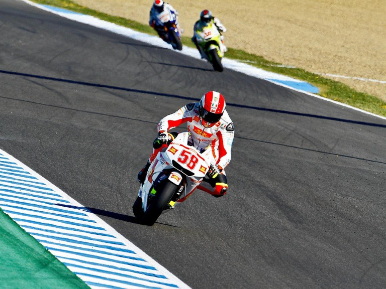 Marco Simoncelli in action in Jerez