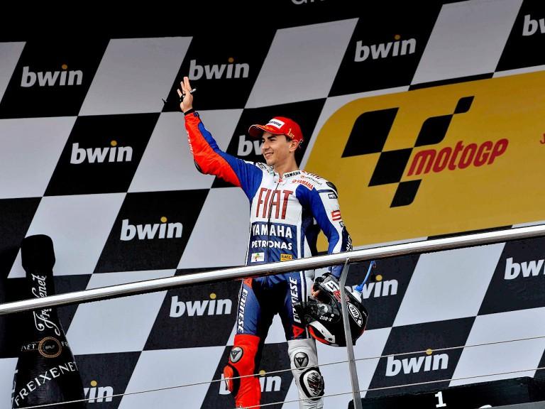 Jorge Lorenzo on the podium in Jerez