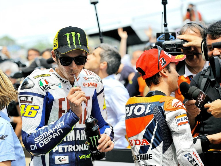 Valentino Rossi at  the parc fermé after the race in Jerez