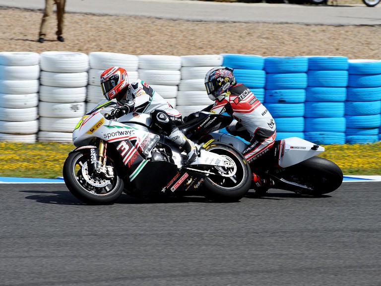 Corsi and Tomizawa crash during Moto2 race in Jerez