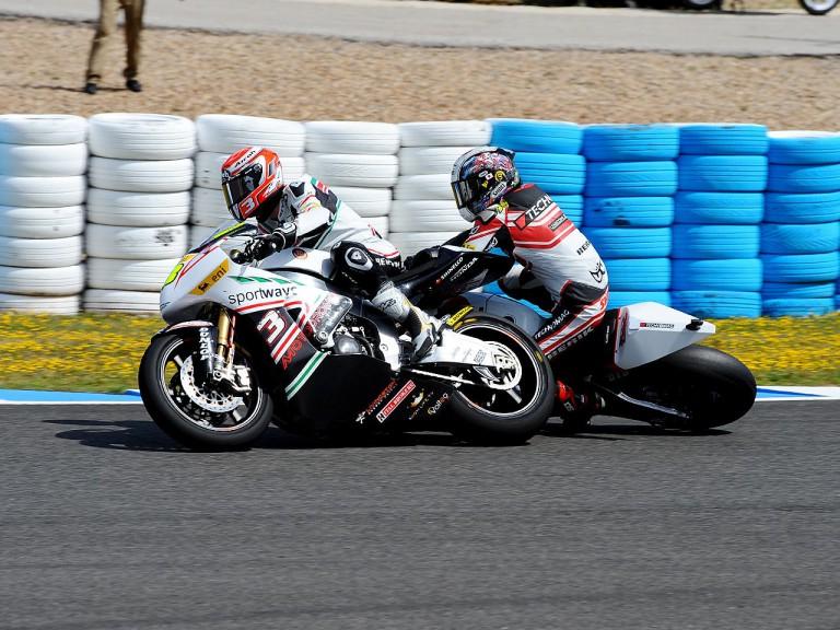 Corsi and Tomizawa crash during Moto2 race in Jerez