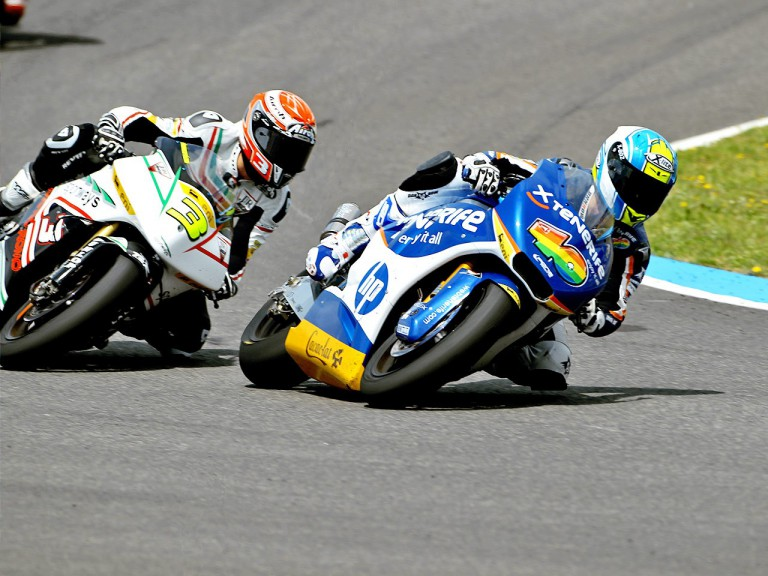 Sergio Gadea riding ahead of Simone Corsi in Jerez
