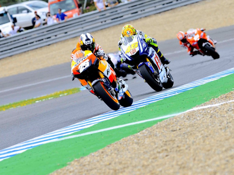 MotoGP group in action in Jerez